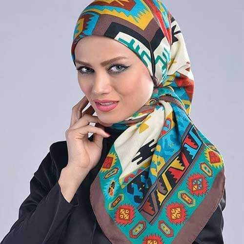 مدل بستن روسری چهارگوش