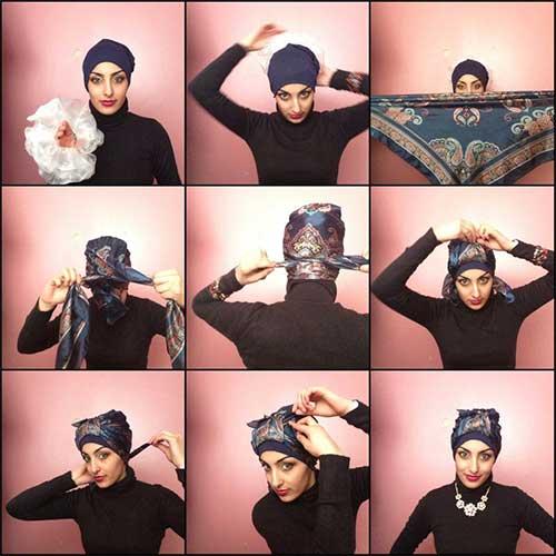 مدل بستن روسری مجلسی